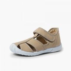 Chaussures salomé sandale à scratch garçon bout renforcé Beige
