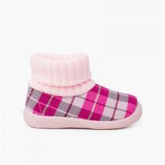 Chaussons avec col chaussette en laine Rose