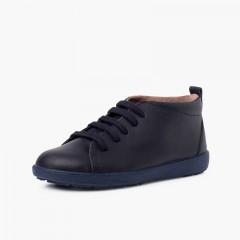 Chaussures en cuir type bottines à lacets Bleu marine
