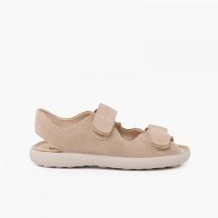 Sandale en croûte de cuir avec bandes avant adhérentes Beige