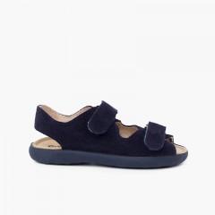 Sandale en croûte de cuir avec bandes avant adhérentes Bleu marine