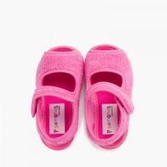 Chaussons Sandale en tissue serviette Fucsia