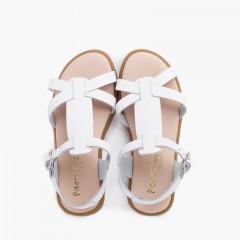 Sandales en cuir pour fille avec sangles de fermeture à boucle Blanc