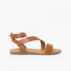 Boucle de bracelet de sandale en cuir pour fille et femme Couleur Cuir