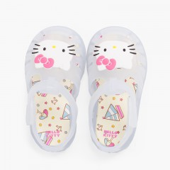 Sandales plage Fermeture auto-agrippante Hello Kitty Blanc