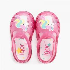 Sandales de plage bande adhésive avec licorne pailletées Fucsia