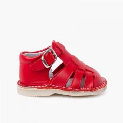 Sandales crabe en cuir pour bébé avec fermeture à boucle Rouge