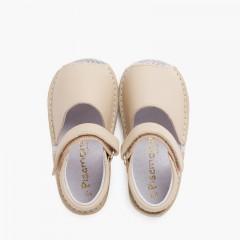 Sandales Avarcas bébé cuir Bande adhérente  Beige