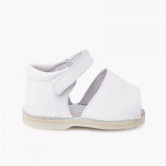 Sandales Avarcas bébé cuir Bande adhérente  Blanc