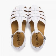 Sandales cuir femme et enfant semelle bio Blanc
