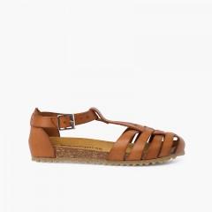 Sandales cuir femme et enfant semelle bio Couleur Cuir