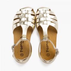 Sandales cuir femme et enfant semelle bio Or