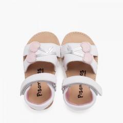 Sandale en cuir avec bride adhérente et semelle cerise joufflue Blanc