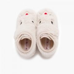 Chaussons de lapin en fourrure douce Écru