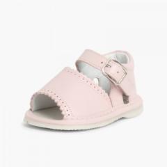 Sandales pointe ouverte cuir et fermeture à boucle pour filles Rose
