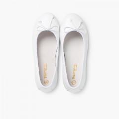 Ballerines de Cérémonie en cuir pour Fille  Blanc