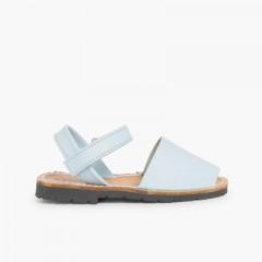 Sandales Avarcas cuir nappa et à scratch pour Enfant  Ciel clair
