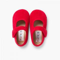 Chaussons Babies en Velours Côtelé pour Filles Rouge