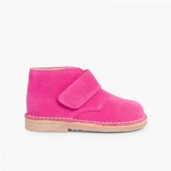 Suède Desert Boots Bottines Chukka à à scratch pour Enfants Fucsia