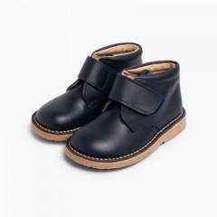 Chukka Boots en Cuir pour l'école avec Fermeture à scratch Bleu marine