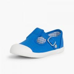 Tennis en Toile pour Garçon – Style Salomé Bleu Royal