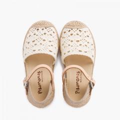 Sandale espadrille en macramé pour fille avec boucle Écru