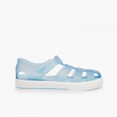 Sandales de plage avec du à scratch de type tennis Ciel clair
