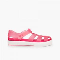 Sandales de plage avec du à scratch de type tennis Fucsia