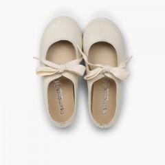 Chaussures babies type ange cuir Écru