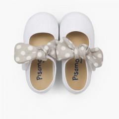 Chaussures babies type ange nœud à pois Blanc et Gris