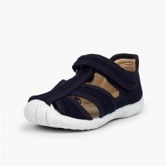 Chaussures salomé sandale à scratch garçon bout renforcé Bleu marine
