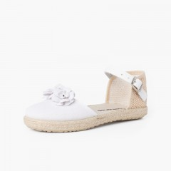 Sandale espadrille à fleurs avec bride en cuir Blanc