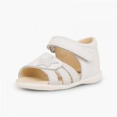 Sandales en cuir pour premiers pas pour fille en à scratch et étoile Blanc