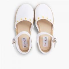 Sandale Espadrille Marguerites à Boucle Blanc