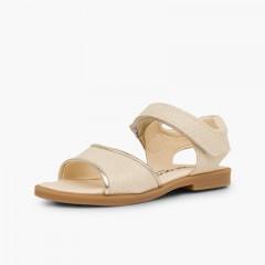 Sandales en cuir brillant fille à scratch Beige