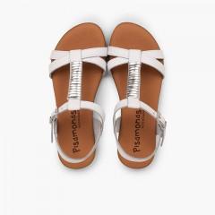 Sandales semelle rembourrée et ornement argenté Blanc