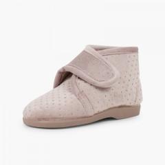 Chaussons confortables façon bottes brillantes Beige