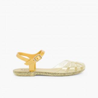 Sandales Plastique pour fille Mara junior Or