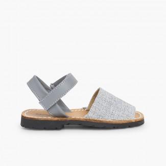 Sandales Avarcas Enfants Tissu Gris