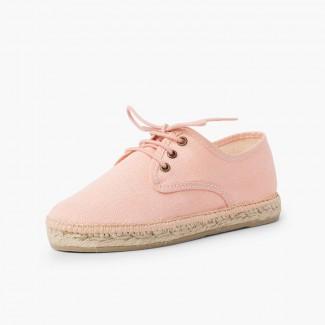 Chaussures blucher en lin avec semelle façon espadrilles Saumon