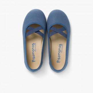 Ballerines fille en toile et ruban croisé style ballet Bleu marine