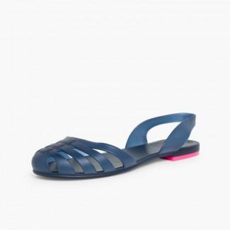 Sandales Plastique Femme Paris Bleu marine