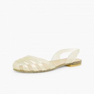 Sandales Plastique Femme Paris Or