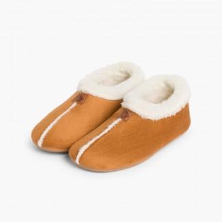 Chaussons Pantoufles Façon Peau de Mouton Camel