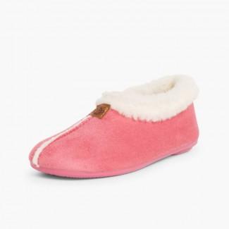 Chaussons Pantoufles Façon Peau de Mouton Rose