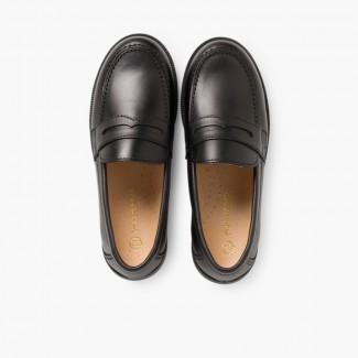 Chaussures d'école Garçon Mocassins Noir