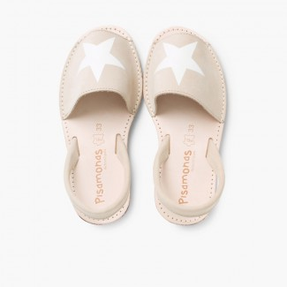 Sandales Avarcas Nubuck avec étoile Beige