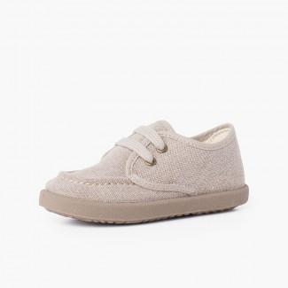 Chaussures Bateau Toile Casual Semelle Sport Brun
