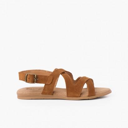 Sandales en cuir refendu avec bretelles croisées Camel