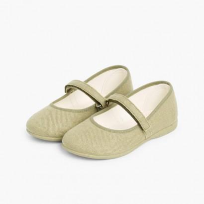 Chaussures babies en Lin avec à scratch fin pour filles Kaki